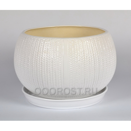Горшок Шар 13л КОСА (глянец белый)  d26-32см, h22см