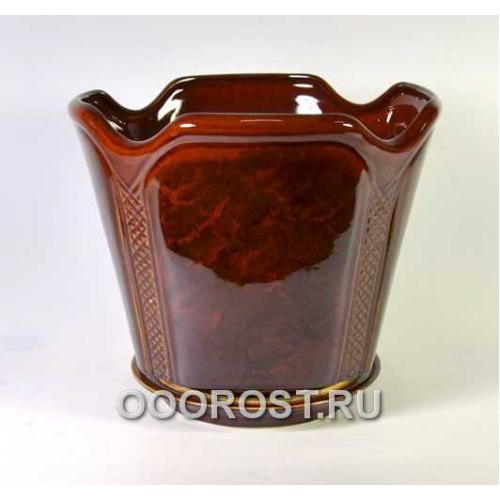 Керамический горшок Готика №1 коричневый 7,1л, d28см, h25см