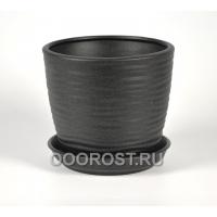 Керамический горшок Грация-Волна №3 крошка черная 2.2л, d18, h15 см