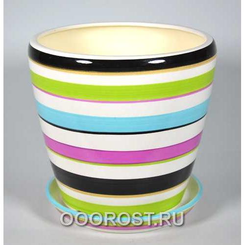 Горшок Грация №2 (полоска цветная) 4,5л d 20см