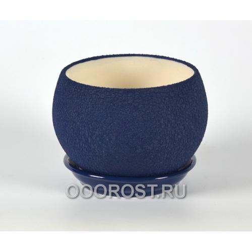 Горшок Шар №2  (шелк синий) 1,4л  d16см