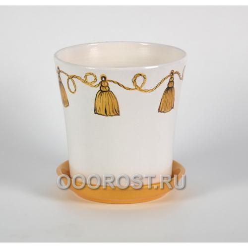 Горшок Вуаль 1,0л (кисть золото) d14,5, h14см
