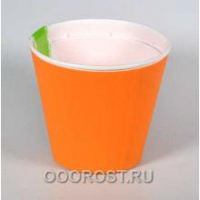 Горшок Ибис с двойным дном 13*11,2 оранж-бел
