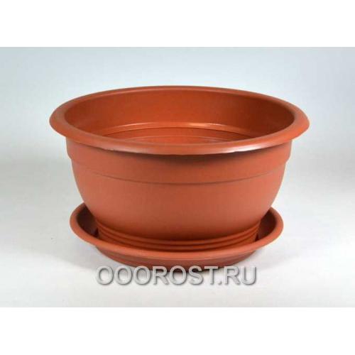 Горшок Флора d26см 4л коричневый с поддоном
