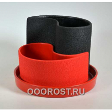 Горшок Капля (шелк черно-красный) d20см, h 8-15см