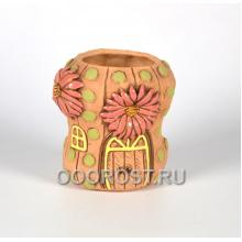 Керамическое кашпо Кактус с цветком терракотовый h16см, d10см, 1.6л