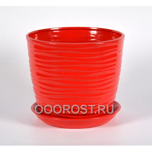 Горшок Грация-Волна №1 (глянец красный) 7л, d25, h21см