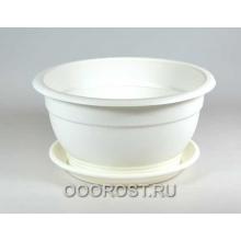 Горшок Флора d26см 4л белый с поддоном