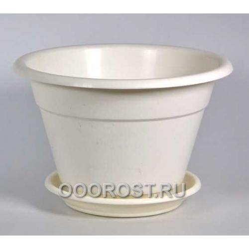 Горшок Конус 2,7л белый с поддоном