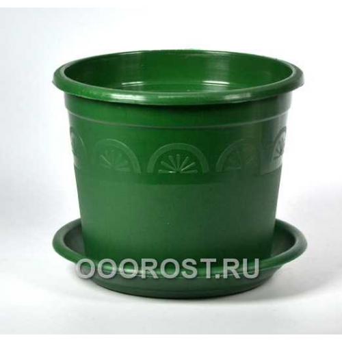 Горшок Астра 1,6л зеленый с поддоном