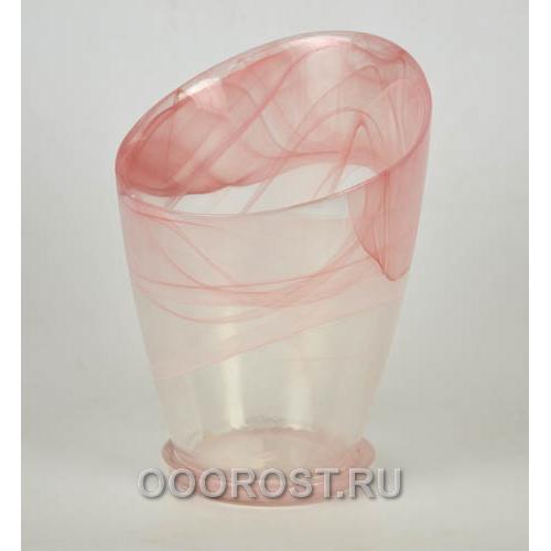 Горшок стеклянный Шерон №2 Розовый d16,5см, h16-22см с поддоном