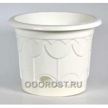 Горшок Тюльпан d19,5см белый с поддоном