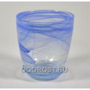 Горшок стеклянный №3 с поддоном Голубой