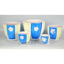 Комплект из 5 горшков Тюльпан-Летний синий 8л, 5л, 2,5л, 1л, 0,4л