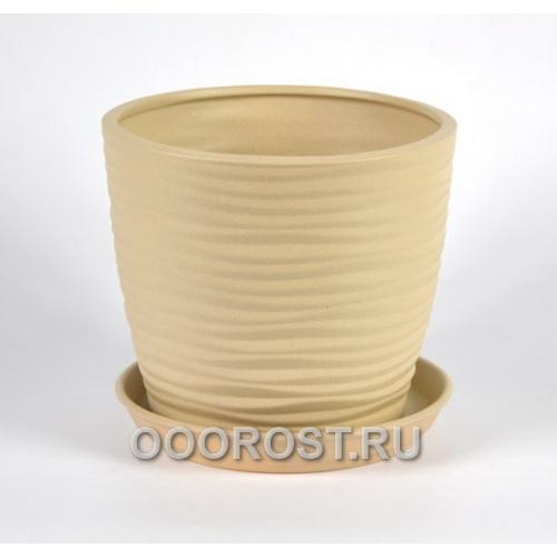 Керамический горшок Грация-Волна №4 крошка бежевый 1л, d13,5см