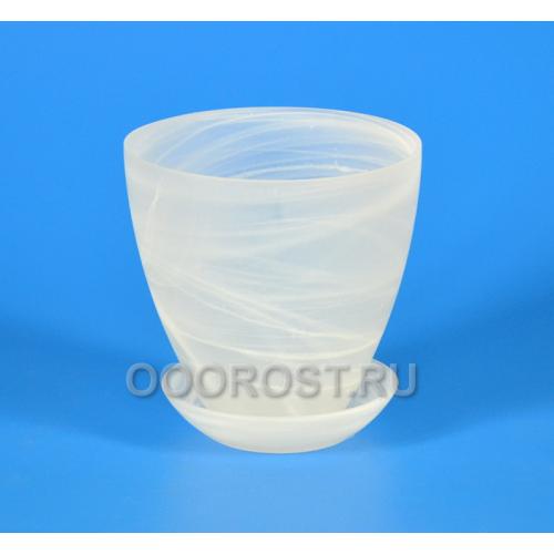 Горшок стеклянный №2 с поддоном матовый Белый d13см, h12см
