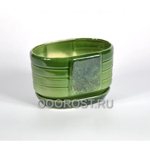 Горшок Овал малый (зеленый)  1,1л, d18*13см,  h10см