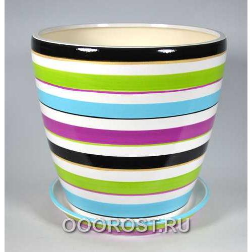 Горшок Грация №1 (полоска цветная) 10л, d26см, h26см