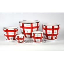 Комплект из 5 горшков Тюльпан-Клетка красная   8л, 5л, 2,5л, 1л, 0,4л