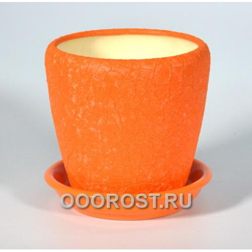 Керамический горшок Грация №4 шелк оранжевый 1,2л d13,5см