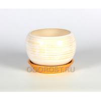 Горшок Шар №2 полоска бело-золотая 1,4л d16см