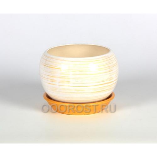 Горшок Шар №2  (полоска бело-золотая)  1,4л  d16см