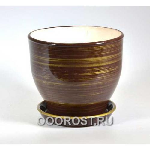 Горшок Виктор (Глянец шоколад-золото)  4л, d20, h18см