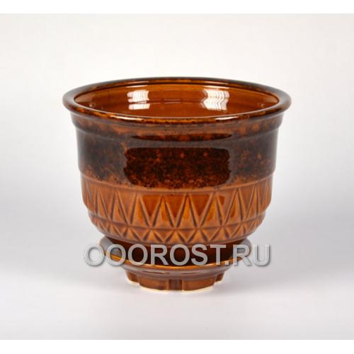 Керамический горшок Астория №5 коричневый 0,5л, d10см, h7см