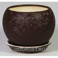 Горшок Шар №2  (шелк шоколадный)   1,4л  d16см