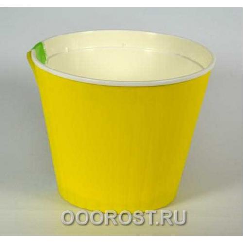 Горшок Ибис с двойным дном 13*11,2 желт-бел