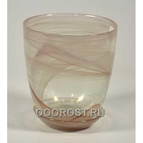 Горшок стеклянный №3 с поддоном Коричневый