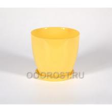 Горшок стеклянный Джина №2 крашеный Желтый с поддоном d13,5см, h12,5см