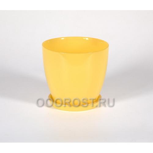 Горшок Джина №2 крашеный Желтый с поддоном d13,5см, h12,5см