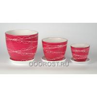 Комплект из 3 горшков Тюльпан-Отражение сиреневый  2,5л, 1л, 0,4л