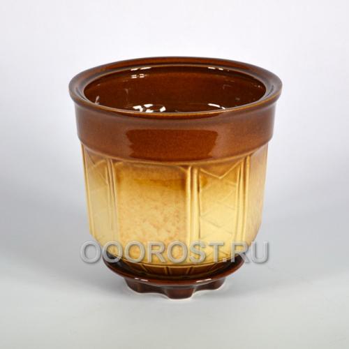 Горшок Дельта №4 (бежево-коричневый)  1,7л, d17см, h15см