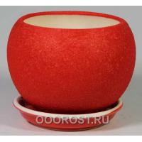 Горшок Шар №2  (шелк красный)   1,4л  d16см