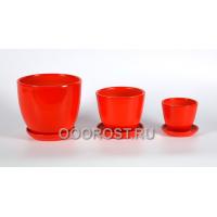 Комплект из 3 горшков Тюльпан-Красный  d18, 14, 10см