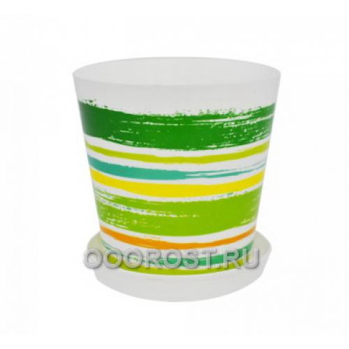Горшок Деко с подставкой d13см, h12,5см Краски зеленые