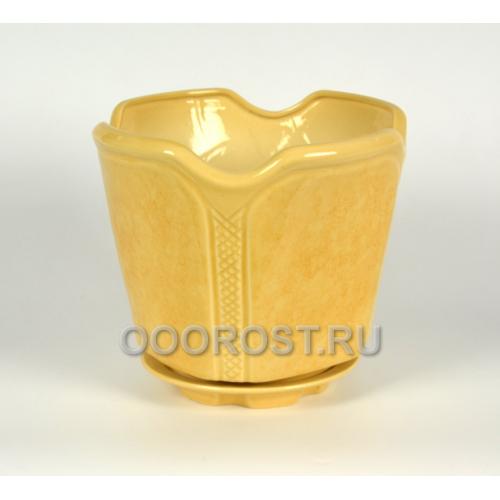 Керамическое кашпо Готика №1 бежевое 7.1л, d28см, h25см