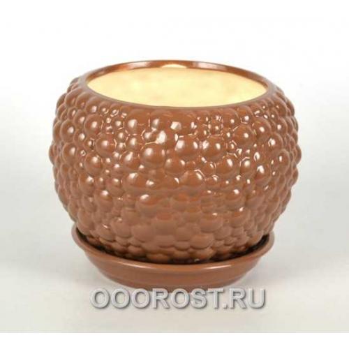 Горшок Шар №2 BUBBLE (молочный шоколад) 1,4л  d16см