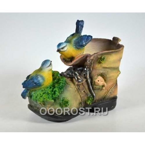 Кашпо Ботинок с двумя птичками и черепашкой h 21 см
