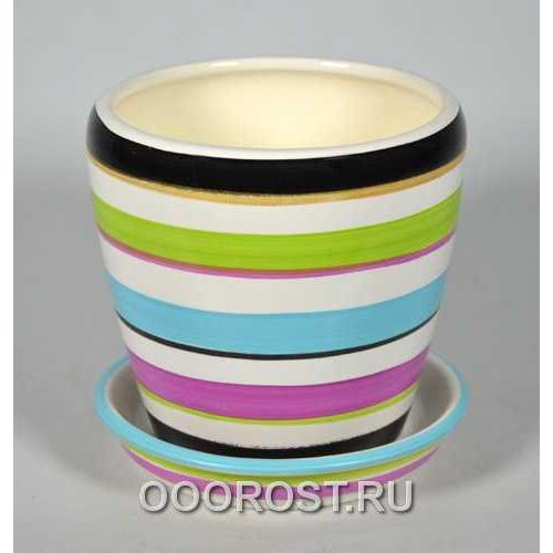 Горшок Грация №4 (полоска цветная) 1,2л d13,5см