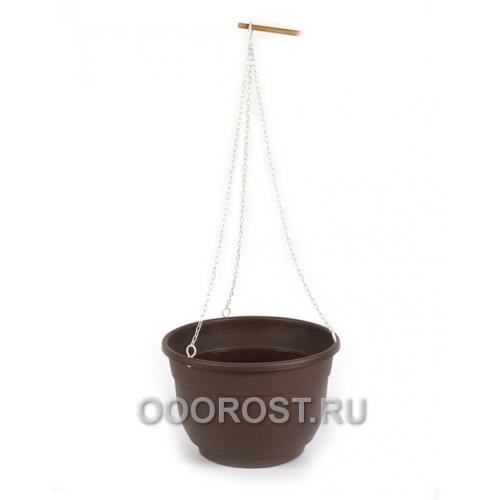 Горшок на цепочках Фуксия 16см, цвет шоколадный