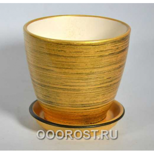 Горшок Кедр №3 (глянец зол-черный) 1,6л