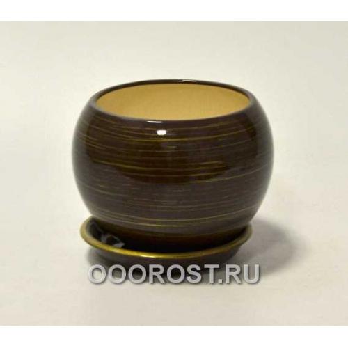 Горшок Шар №2  (глянец шок-золото)  1,4л  d16см