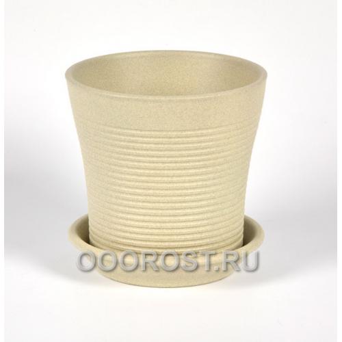 Керамический горшок Вуаль резной крошка бежевый 1 л, d14.5, h14 см