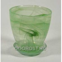 Стеклянный горшок №2 с поддоном Зеленый