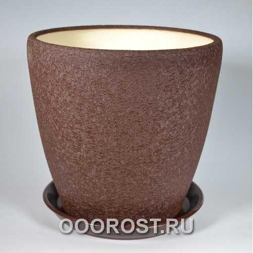 Керамический горшок Грация 20л шелк шоколад d33см, h31см
