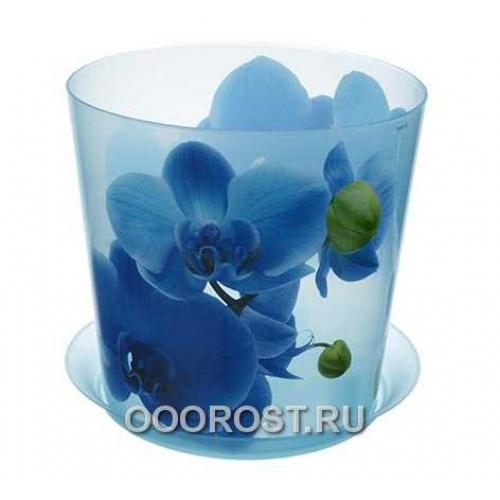 Кашпо ДЕКО с поддоном D16см, 2.4л голубая орхидея