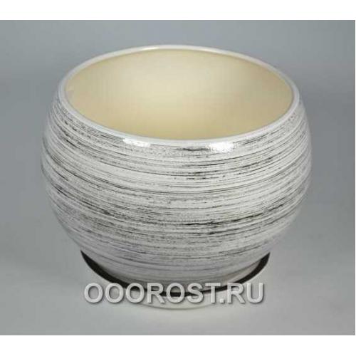 Горшок Шар №1  (глянец бело-черный)  4,1л  d23см